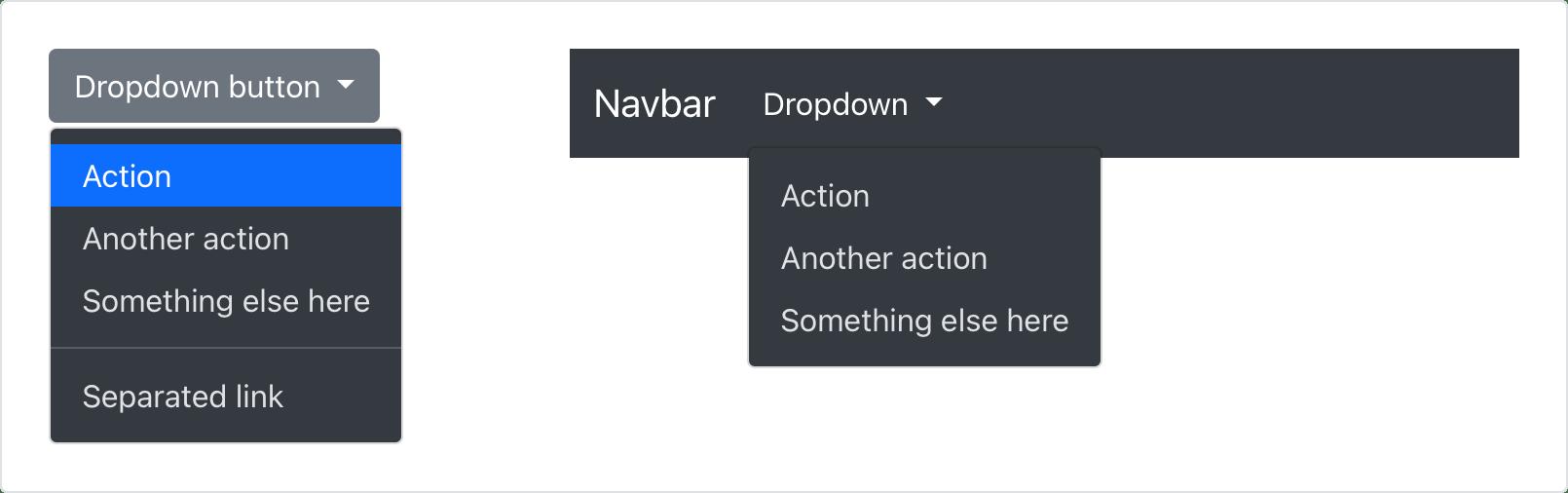 Example dark dropdowns