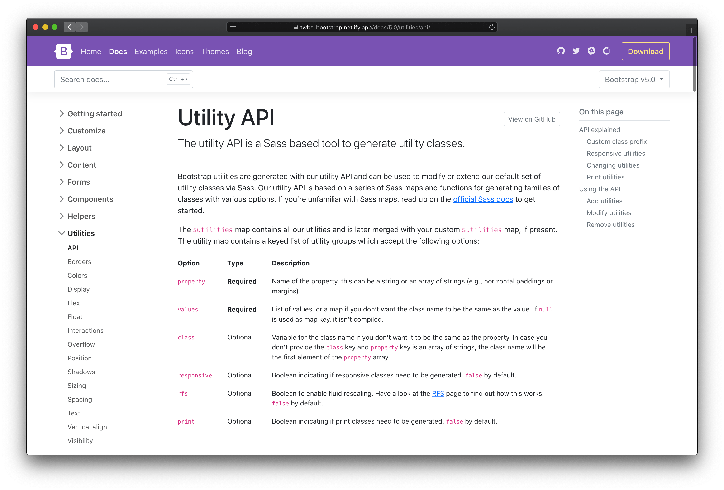 New utilities API docs